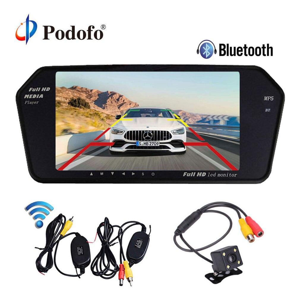 Podofo Bluetooth и громкой связи Ultra Slim 7 ''автомобильный зеркало заднего вида монитор MP5 плеер Беспроводной резервного копирования Камера парковка ...