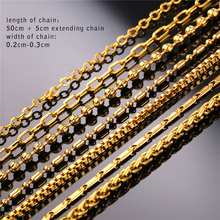 U7 Brand DIY Chains Necklace For Pendant Men/Women Jewelry Gold Color Stainless Steel 3MM/2MM Twisted Rope Chain Wholesale N401