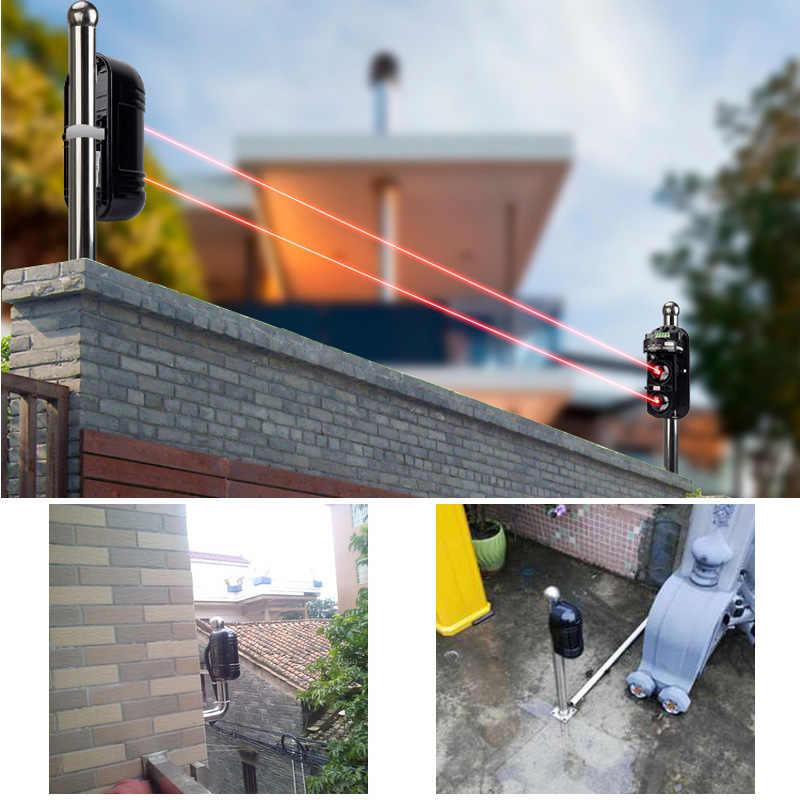 Sécurité dorée GSM SMS 100M système d\'alarme périmétrique faisceaux  infrarouges pour maison maison jardin ferme sécurité alarme sirène IR  barrière