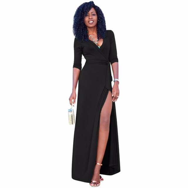 38c8fdaab15 Sexy Black Maxi Dress Robe Sexy Long Sleeve Deep V Neck Wrap Long Party  Dresses Split fork Autumn Women Elegant Bodycon Dresses