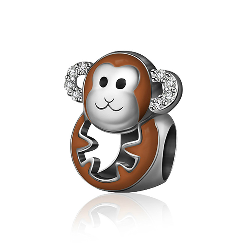 New 100% 925 Sterling Silver Charm 1:1 Original Authentic Classic Monkey Of The Zodiac Retro Elegant Women Bead Wedding Jewelry Soft And Light Jewelry & Accessories