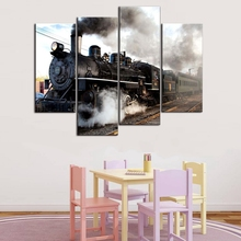 A Car And Train With Gray Smoke Steam Trains In Progress Wall Art Painting Print On Canvas Home Decor Decor Gift худи print bar csgo kill through a smoke
