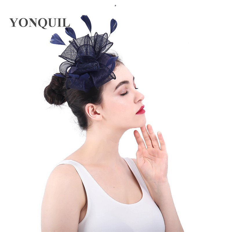 d2ef67f8 2018 Classic Fascinator for women navy HairClip Pillbox Hat Bowler Feather  Flower sinamay fedora Wedding Party accessories-in Women's Hair Accessories  from ...