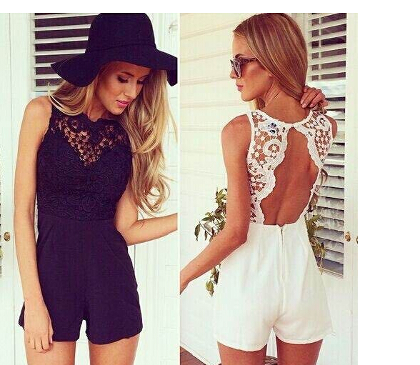 30pcs/lot fedex fast free shipping Fashion Summer Slim Bodycon Sexy Lace Backless Patchwork Sleeveless white black Jumpsuit