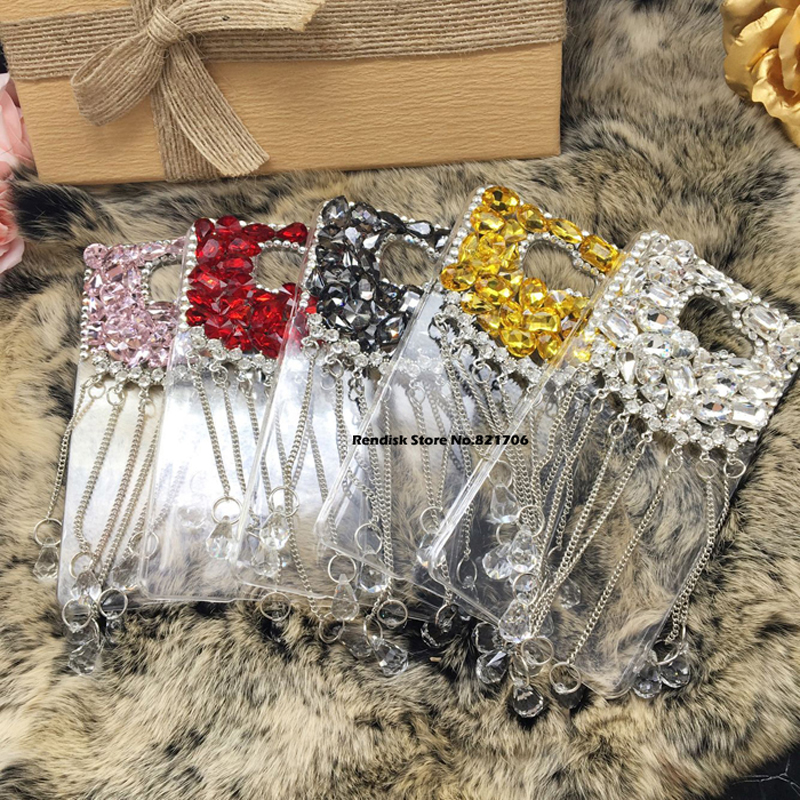 Shiny Diamond Phone case For Samsung Galaxy A5 2017 A520 Beautiful Tassel Rhinestone Phone Cover Cases Pink  White Gold Red