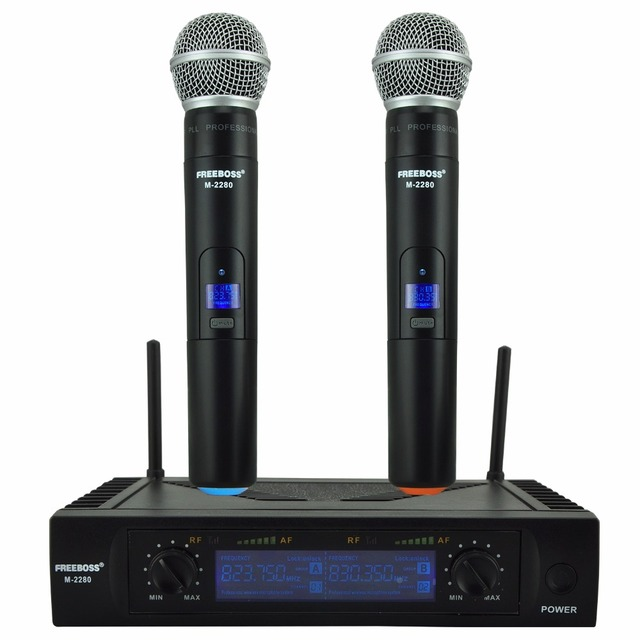 Freeboss M-2280 UHF Wireless Microphone with Screen 50M Distance 2 Channel Handheld  Mic System Karaoke Wireless Microphone
