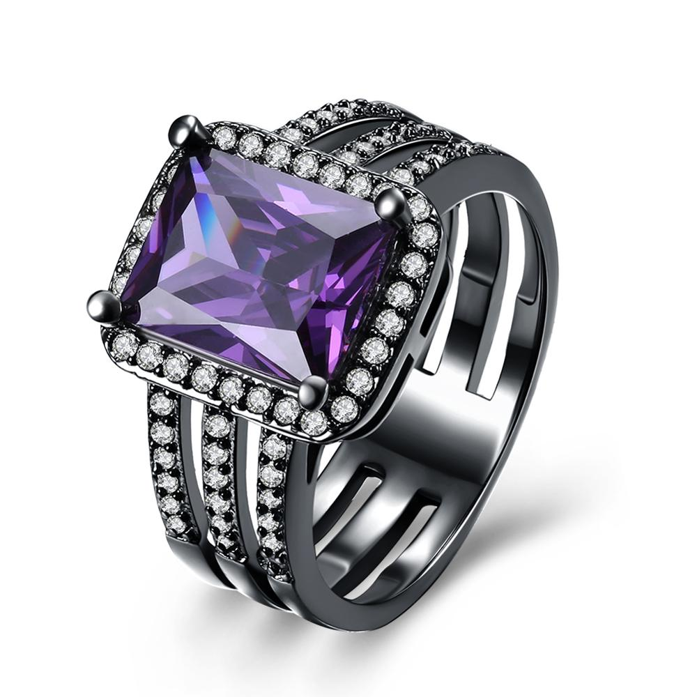 Nobleness and Luxury Square multiline Inlay Shiny Purple Cubic Zirconia Women Ring For Wedding Best Selling Jewelry Trinket