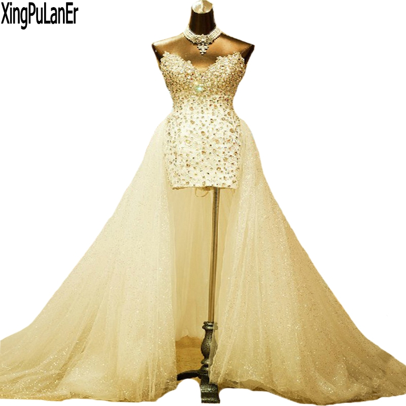 Custom Made Real Sheath Crystal Sequined Sweetheart Neckline Sleeveless Detachable Cathedral Train Wedding Dresses