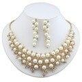 Dubai elegante joyería de la boda chapado en Oro de imitación plateado aretes collar de perlas de La Joyería del vestido de las mujeres elegantes