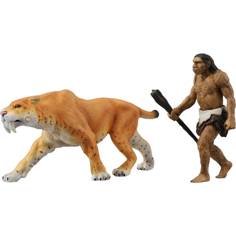 Classic Action-Figures Tiger Smilodon Toys Animal-Model Small-Size for Boys Children