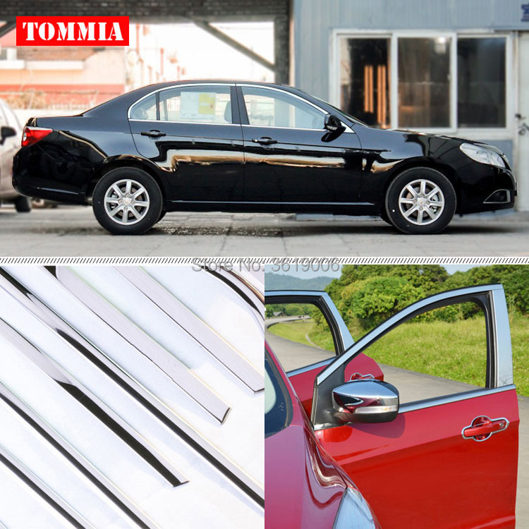 TOMMIA Full Window Pillar Molding Sill Trim Chromium Styling Strips Stainless Steel For Chevrolet Epica 2010-2013 stainless steel full window with center pillar decoration trim car accessories for hyundai ix35 2013 2014 2015 24