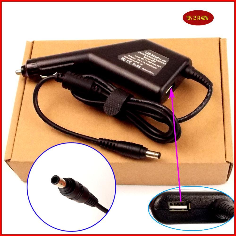 Ноутбук DC Мощность автомобильный адаптер Зарядное устройство 19 В 2.1a 40 Вт + <font><b>USB</b></font> Порты и разъёмы для Samsung NB30 NC10 nc-10 NC20 NC110 ND10 nf210 NP-N310