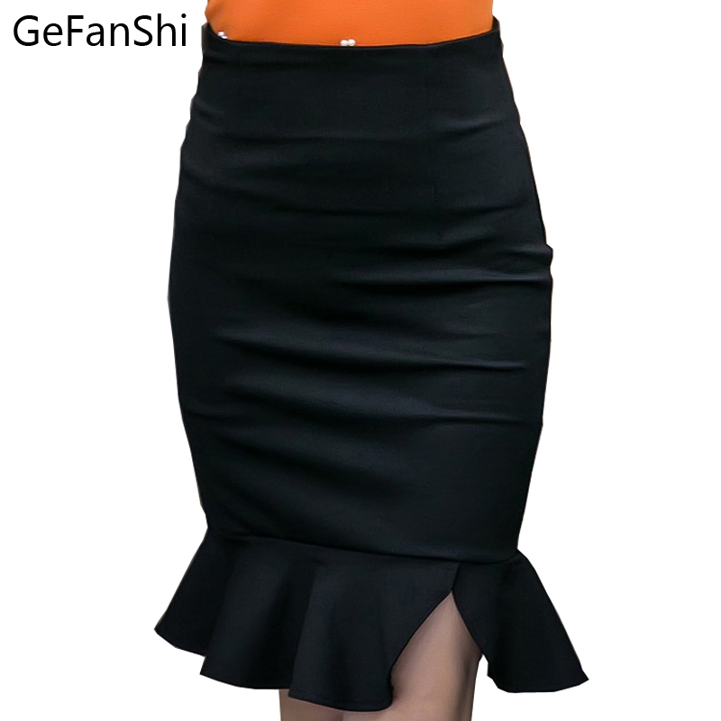 2019 New Arrival Spring Fashion <font><b>Sexy</b></font> Slim Pencil <font><b>Skirt</b></font> High Waist Stretch fabrics Back Zipper Ruffles Women <font><b>Skirts</b></font> Size S--<font><b>5XL</b></font> image