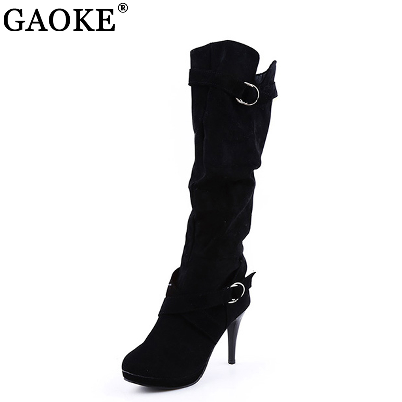 Thigh High Women's Winter Boots Faux Suede Leather High Heels Over The Knee Boots Women Plus Size Shoes Woman Boots nayiduyun new fashion thigh high boots women faux suede point toe over knee boots stretchy slim leg high heels pumps plus size