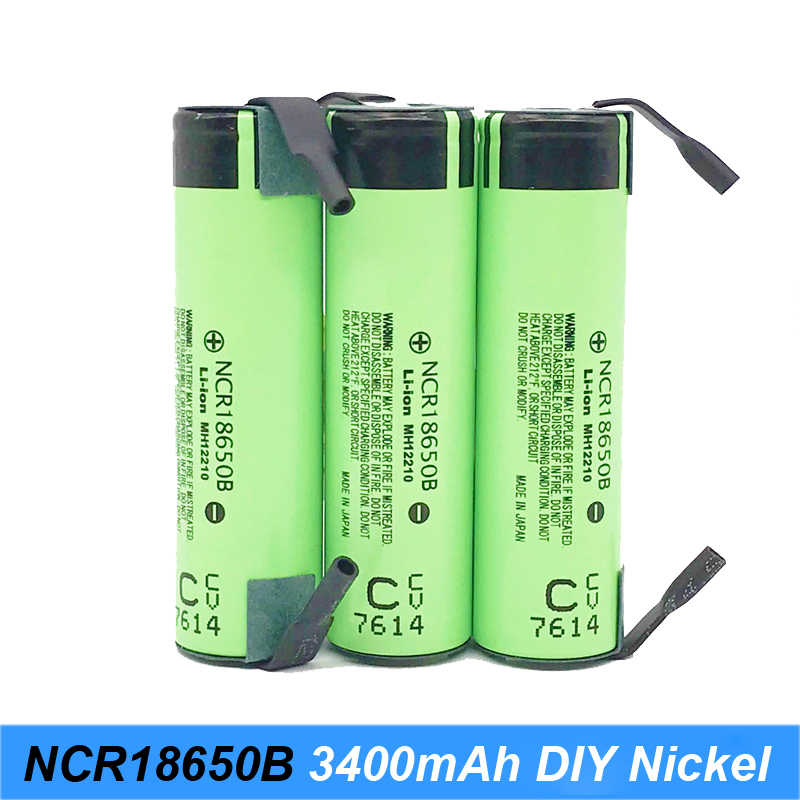 Turmera original 18650 battery 3400mah ncr18650b with strips soldered batteries for screwdrivers electric cigarette and lights