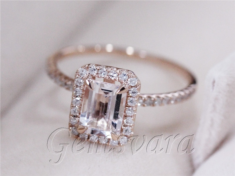 Emerald Cut 5x7mm Pink Morganite 0 26ctw Diamond Claw Prongs 14K