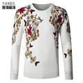 Chinese style butterfly flower pattern printing quality men sweater 2016 Autumn&Winter new fashion knitted sweater men M-4XL