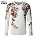 Teste padrão de flor da borboleta do estilo chinês qualidade de impressão homens camisola 2016 Outono & Inverno new fashion malha camisola dos homens M-4XL