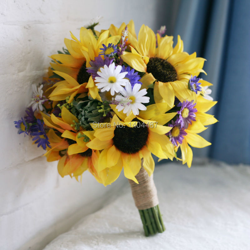 Yellow Artificial Sunflower Daisy Flower Bridal Bouquets Wedding