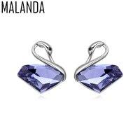 MALANDA Brand 2017 New Fashion Big Classic Swan Shape Stud Earrings For Women Crystal From Swarovski