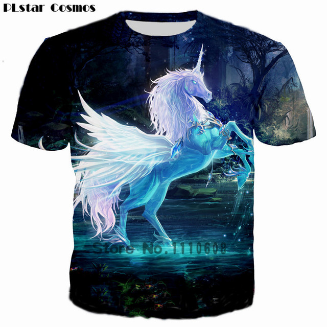 476a8548c PLstar Cosmos 2018 Cool Latest Design Unicorn 3D Print T shirt Women/Men  Casual T shirts Summer Kids T-shirt Tops Plus size 5XL
