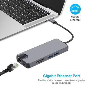 Image 5 - 8 יציאת USB C Hub HDMI VGA Ethernet Lan RJ45 מתאם עבור Mac ספר פרו, סוג C hub כרטיס קורא 2 USB 3.0 + סוג C טעינת נמל