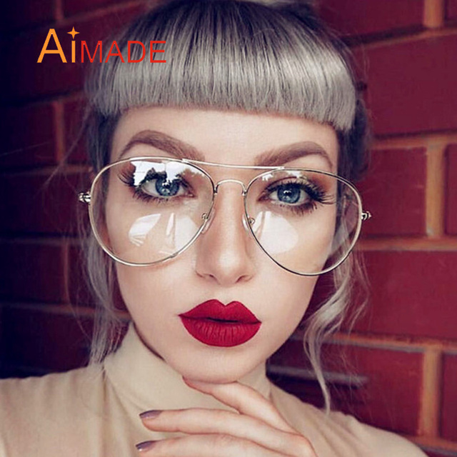 ff356042c8 AIMADE Fashion Pilot Optical Eye Glasses Women Men Vintage Clear Glasses  Frame Retro Aviation Goggle Eyeglasses For Female Male