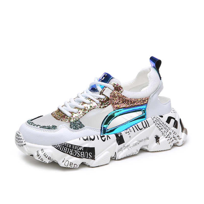 2019 Sneakers Women Trendy Chunky Dad Shoes Woman Fashion Thick Sole Ladies Platform Shoe Laces Chaussures Graffiti Femme Shoes