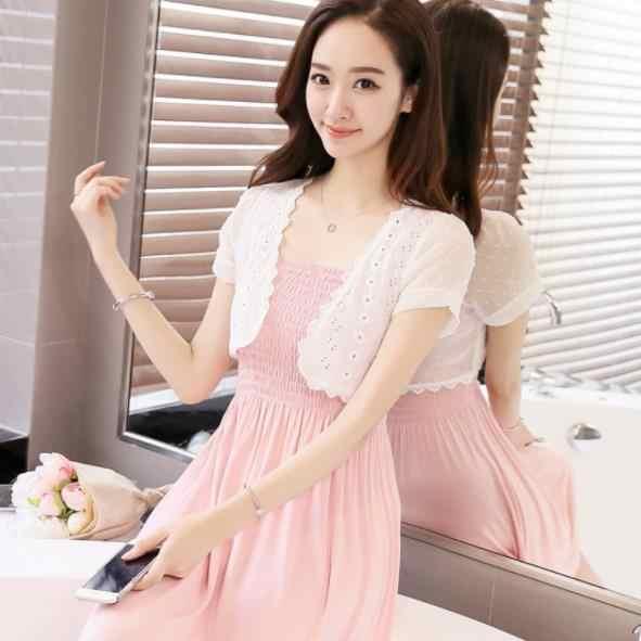 2020 ผู้หญิงเสื้อลูกไม้ Shrug ผ้าคลุมไหล่แขนสั้นสั้น Crop Tops เสื้อชีฟองดูผ่าน Sun Outwear AE398