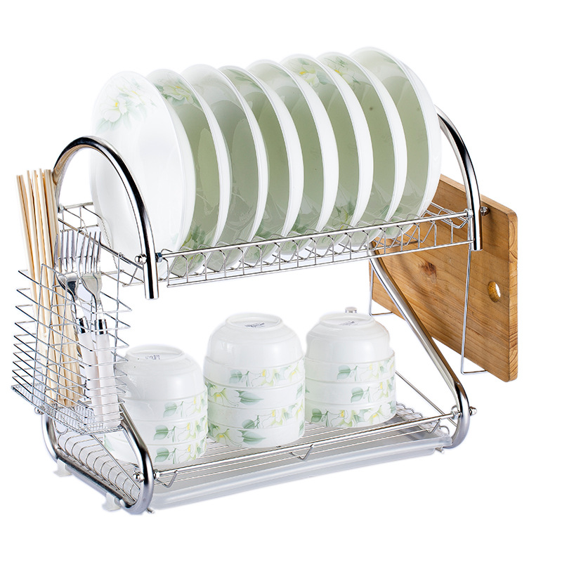 US $20.91 19% OFF|2 Tier Kitchen Storage Organizer Dish Drainer Drying Rack  Metal Kitchen Sink Holder Tray Cup Plate Rack Stand Tableware Shelf-in ...