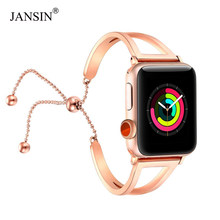 JANSIN Women fashion watch band For Apple Watch 38mm 42mm 40mm 44mm Stainless Steel bracelet for Apple Watch band Series 5 4 3 2(China)