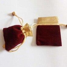 50pcs Phnom Penh Bead Wine Red Velvet Bag Jewellery Pouch Gift Bags Wedding Draw