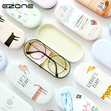 EZONE Creative Iron Pencil Case Tin Metal Glasses Box Kawaii Spectacle With Cloth Holder Pen Gifts
