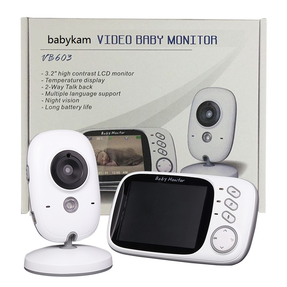 Babykam baba electronics radio babysitter 3.2 inch IR Night vision 2 way talk 8lullabies Temperature monitor video nanny doppler