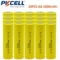 20pcs 1.2v aa 1000mah rechargeable NICD battery in industrial package in flat top, non PCM