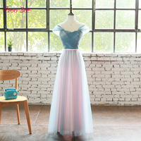 TaooZor Long Prom Dress Tulle Cheap Pleated Prom Dresses Junior Bow Sashes Satin Belt Prom Gown