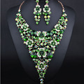 Luxury Flowers Big Triangle Crystal Necklace Earrings for Women African Wedding Jewelry Sets