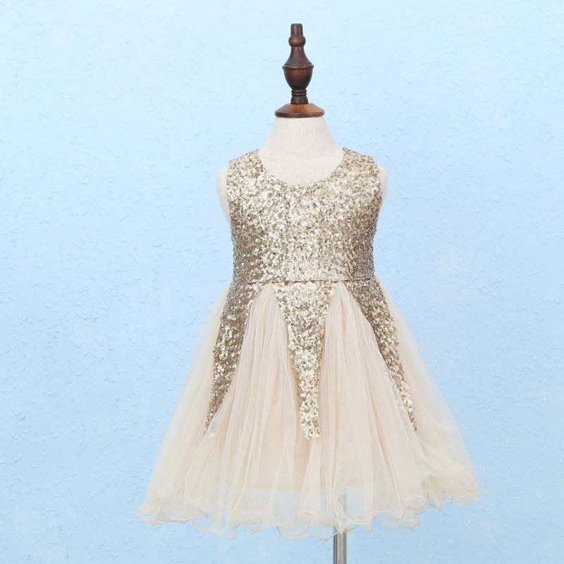 059cd3dba08f 2018 Gold Silver Sequins Girls Summer Dress Vintage Puffy Princess Dress  for Flower Girls Lovely Clothes Wholesale