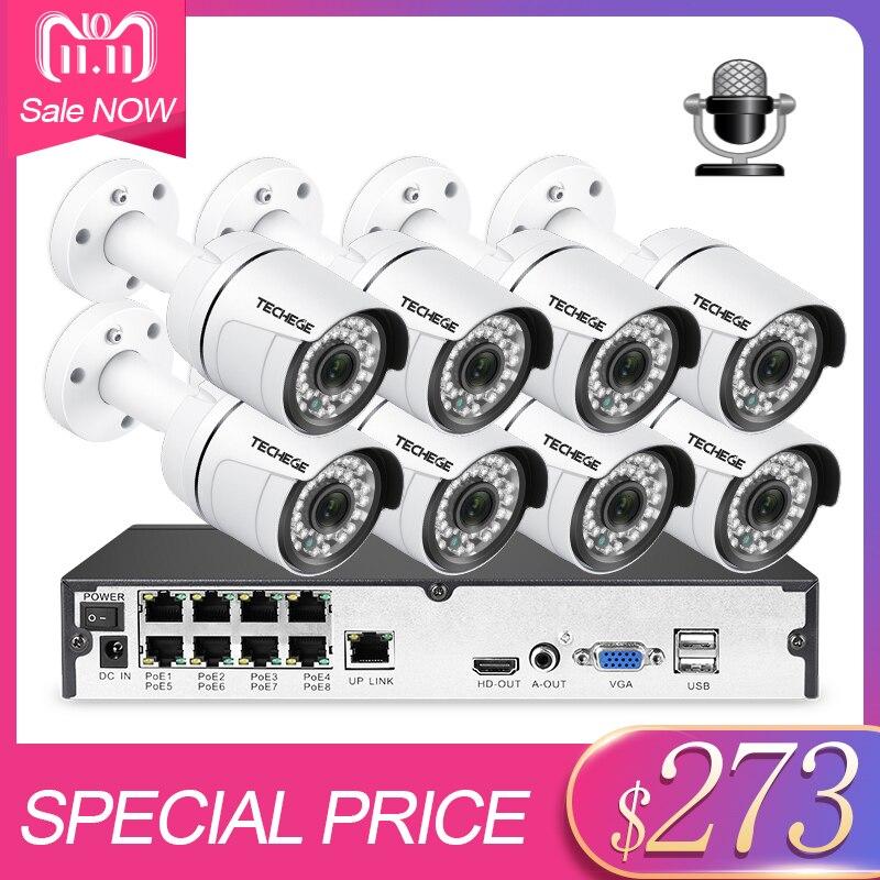 Techege 8CH CCTV Système 8 pcs 3000TVL Audio Extérieure IP Caméra 1080 p Détection de Mouvement Onvif Vidéo Surveillance Système