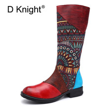 D Knight Genuine Leather Knee High Western Boots Women Shoes Woman Retro Casual Cowboy Winter Spring For Girls Botas Mujer