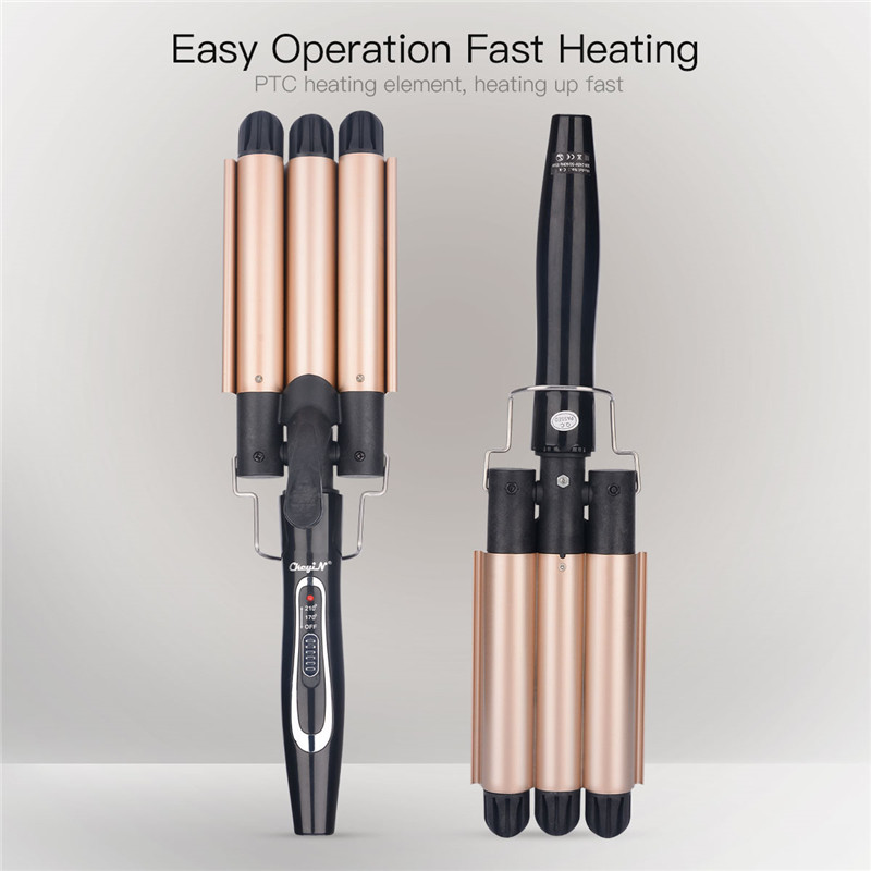 22mm Perm Splint Ceramic ion Hair Curler 3 Barrels Deep Waver Curling Iron Fast heating Professional Deep Waver Styling Tool P49