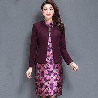 High Quality Free Shipping Women Fashion Noble Mother Two Sets Dress Elderly Clothing Wedding Plus Size