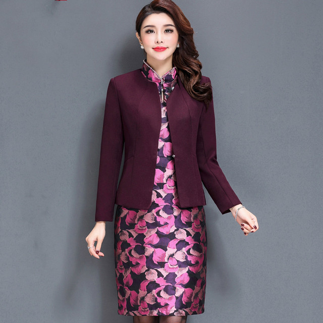 High Quality Free Shipping Women Fashion Noble Mother Two Sets Dress