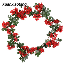 Xuanxiaotong 150cm Red Roses Artificial Flowers Vine for Wedding Arch Decor Wisteria Flower Home Wall Hanging Decoration