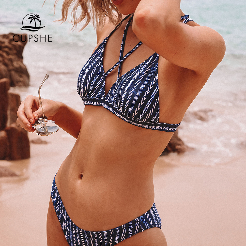 CUPSHE Strappy Navy And White Bikini Sets Women Sexy Triangle Two Pieces Swimsuits 2020 Girl Beach Bathing Suits Swimwear