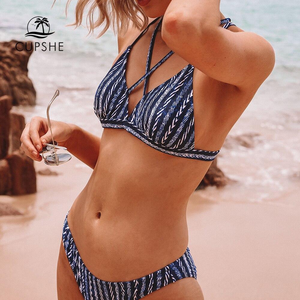 fa9505346602 Promo CUPSHE sandalias azul marino y blanco Bikini de las mujeres Sexy de  dos piezas trajes de baño ...
