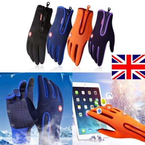 Women Men Warm Windproof Waterproof Anti-slip Solid Thermal Touch Screen Winter Skiing Driving Gloves Zipper UK