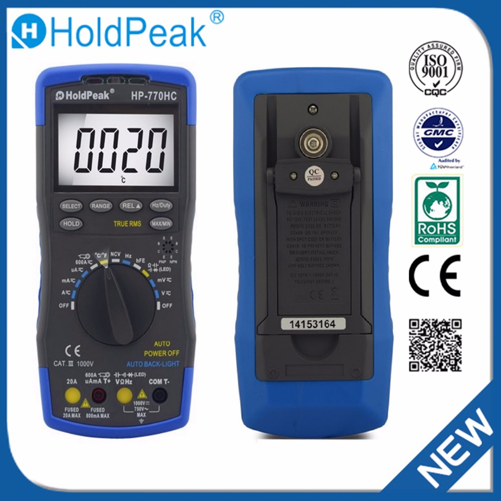 Multimetro HoldPeak HP-770HC True RMS Auto Ranging Digital Multimeter with NCV Feature and Temperature цена