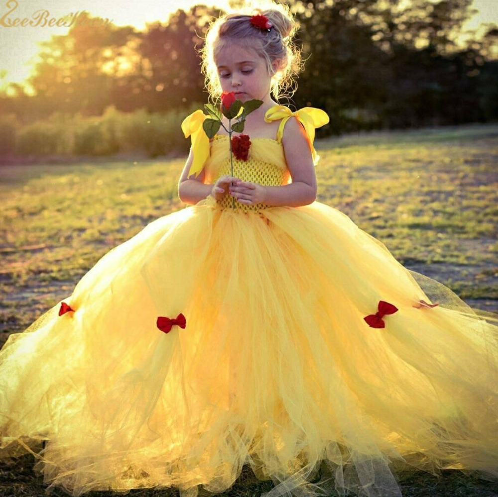 Belle Cosplay Costume Anime Beauty And Beast Dress Children's Dress Kid Yellow Belle Princess Dress Girls Evening Long Dress