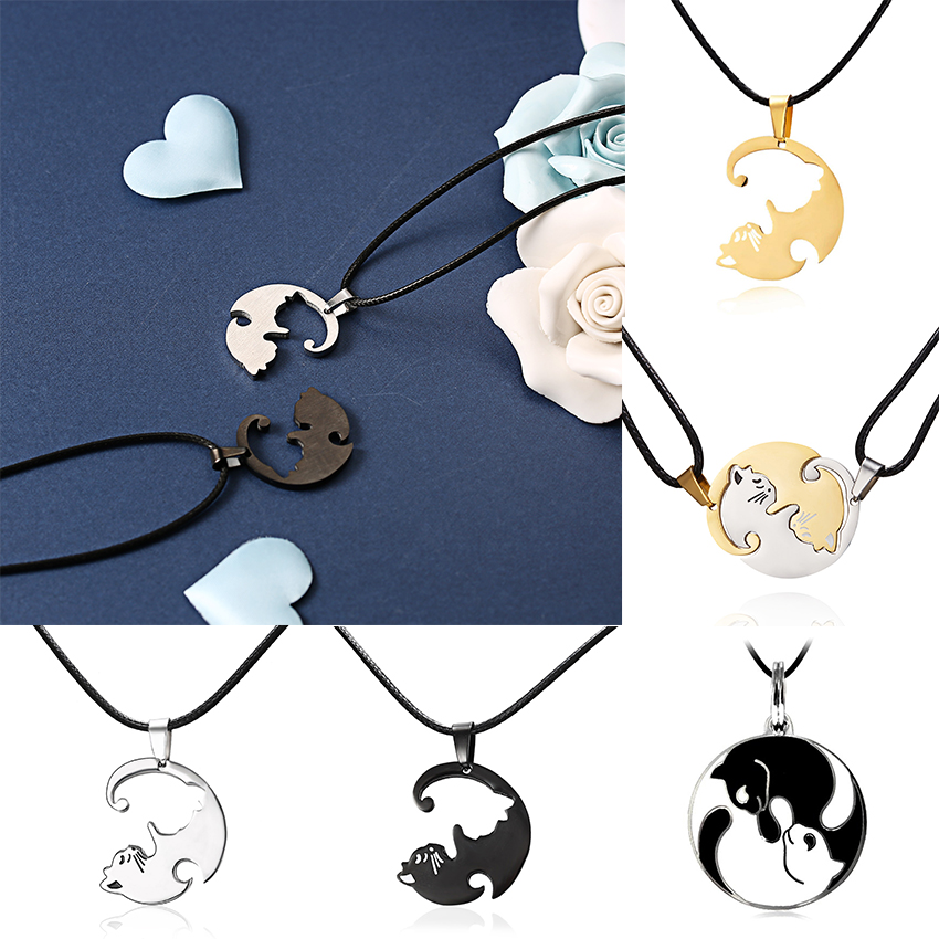 New Design Stainless Steel Cat Animal Pendant Necklaces Elegant Black Gold White Couple Necklace For Lovers Fashion Jewelry Gift in Pendant Necklaces from Jewelry Accessories